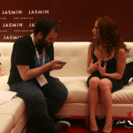 Mark Shrayber from Jezebel interviews me on the couch in the Jasmin Booth.